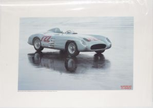 "Mercedes 300SLR 1955 Sports Racer. SUPERCAR CLASSICS poster 22 x 17""(560 x 430mm)"